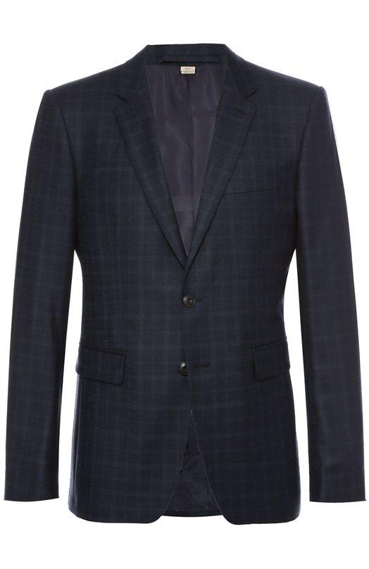 Шерстяной приталенный пиджак в клетку Burberry 4016848
