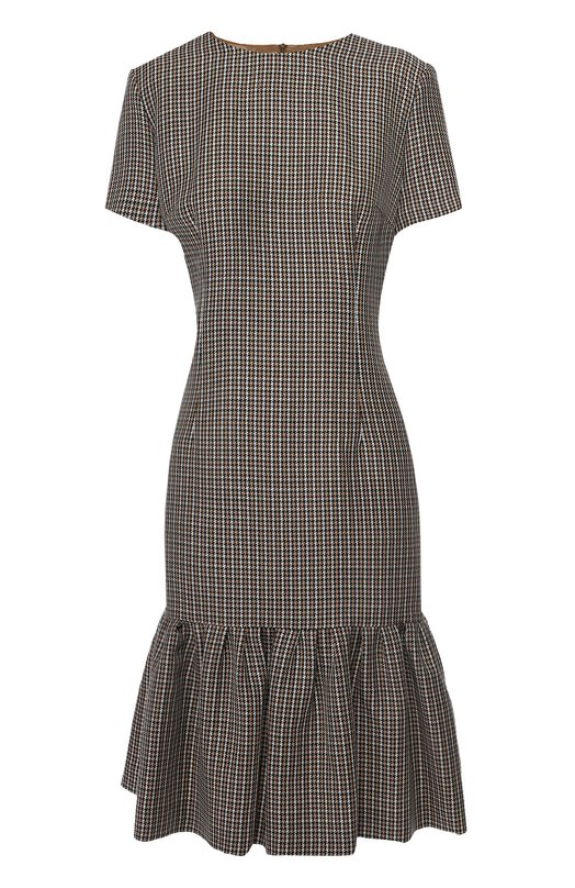 Приталенное платье в клетку с оборкой EscadaПлатья<br>Приталенное клетчатое платье с короткими рукавами и круглым вырезом сшито из тонкой шерсти. Подол дополнен широкой оборкой. Модель, застегивающаяся сзади на потайную молнию, вошла в коллекцию сезона осень-зима 2016 года. Рекомендуем сочетать с черными туфлями и темно-синей сумкой.<br><br>Российский размер RU: 42<br>Пол: Женский<br>Возраст: Взрослый<br>Размер производителя vendor: 34<br>Материал: Шерсть: 100%; Подкладка-купра: 100%;<br>Цвет: Бежевый