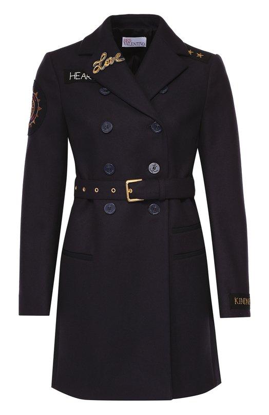 Пальто прямого кроя с поясом и контрастной отделкой REDVALENTINO LR0CA0U5/0NA