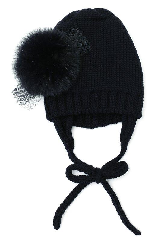 Шерстяная шапка с декором из меха лисы CatyaГоловные уборы<br><br><br>Пол: Женский<br>Возраст: Детский<br>Размер производителя vendor: II<br>Материал: Шерсть меринос: 100%; Отделка мех./лиса/: 100%;<br>Цвет: Синий
