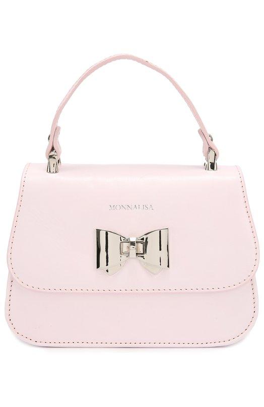 Кожаная сумка с бантом MonnalisaСумки<br><br><br>Пол: Женский<br>Возраст: Детский<br>Размер производителя vendor: NS<br>Материал: Кожа натуральная: 100%;<br>Цвет: Розовый