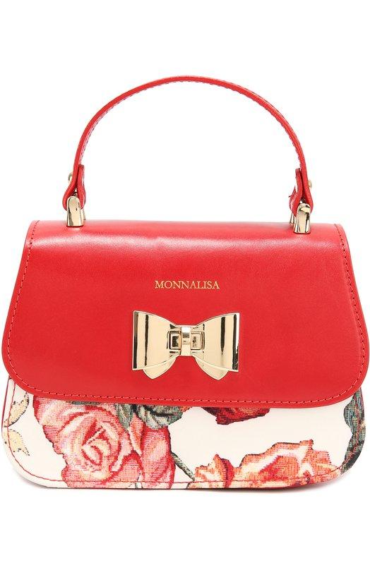 Кожаная сумка с отделкой из неопрена Monnalisa 198041/8608