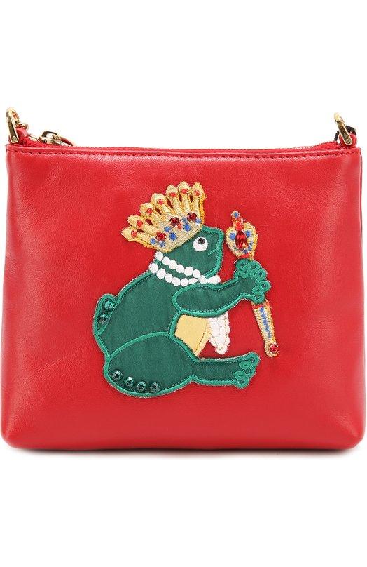 Кожаная сумка с аппликацией Dolce &amp; GabbanaСумки<br><br><br>Пол: Женский<br>Возраст: Детский<br>Размер производителя vendor: NS<br>Материал: Кожа натуральная: 100%;<br>Цвет: Красный