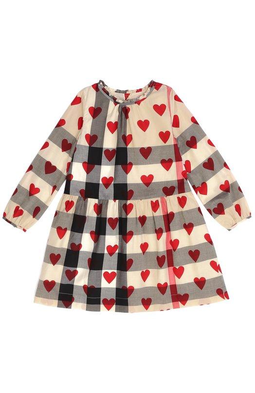 Платье в клетку с принтом в виде сердец Burberry 4024324