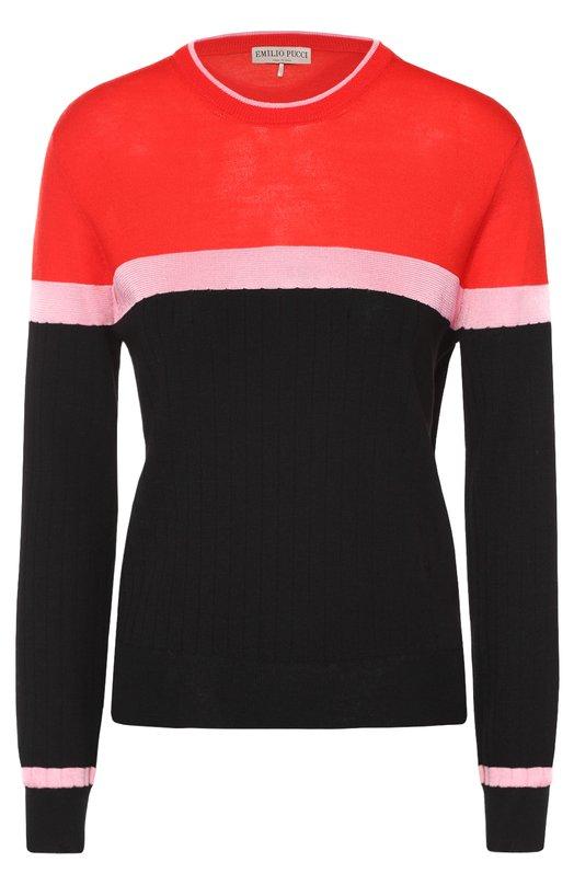 Шерстяной пуловер прямого кроя с круглым вырезом Emilio Pucci 66/KP55/66898