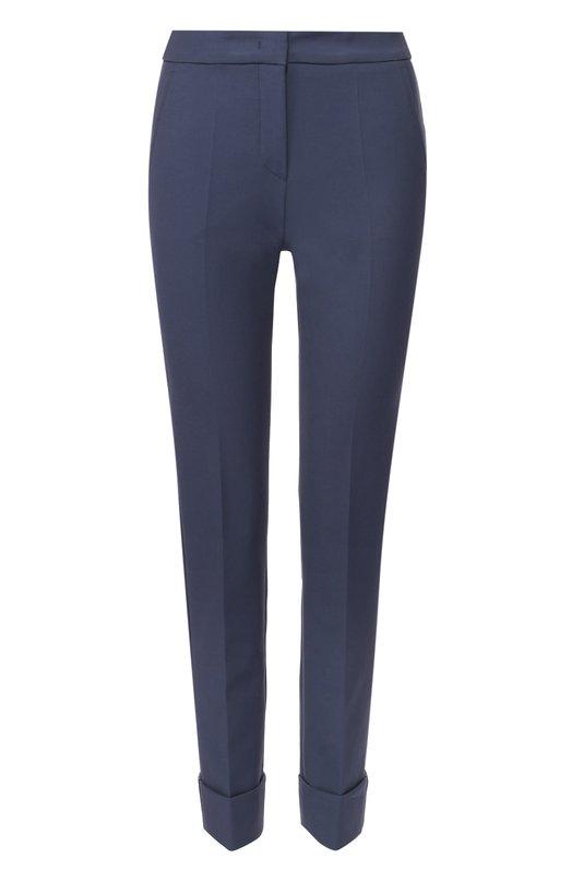 Брюки прямого кроя с карманами и отворотами Armani CollezioniБрюки<br>Джорджио Армани включил в коллекцию сезона осень-зима 2016 года брюки из стрейчевого габардина. Темно-синяя модель дополнена двумя боковыми и двумя задними карманами, низ зауженных брючин – широкими отворотами. Попробуйте сочетать с белой блузой и черными туфлями-лодочками.<br><br>Российский размер RU: 40<br>Пол: Женский<br>Возраст: Взрослый<br>Размер производителя vendor: 38<br>Материал: Хлопок: 55%; Полиамид: 35%; Эластан: 10%;<br>Цвет: Темно-синий