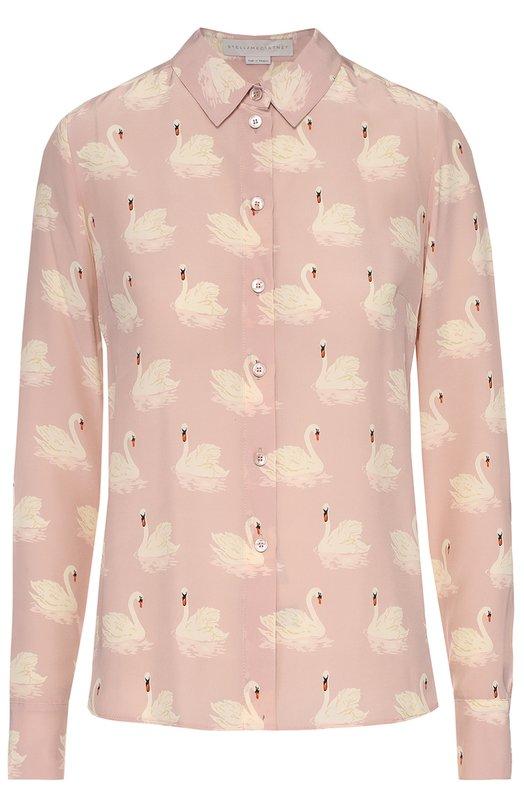 Шелковая блуза прямого кроя с принтом в виде лебедей Stella McCartneyБлузы<br>Стелла Маккартни включила блузу с длинными рукавами и отложным воротником в осенне-зимнюю коллекцию 2016 года. Для изготовления модели Wilson использован мягкий розовый крепдешин с принтом в виде лебедей. Рекомендуем сочетать с черными джинсами и сумкой, а также с кедами белого цвета.<br><br>Российский размер RU: 46<br>Пол: Женский<br>Возраст: Взрослый<br>Размер производителя vendor: 44<br>Материал: Шелк: 100%;<br>Цвет: Розовый