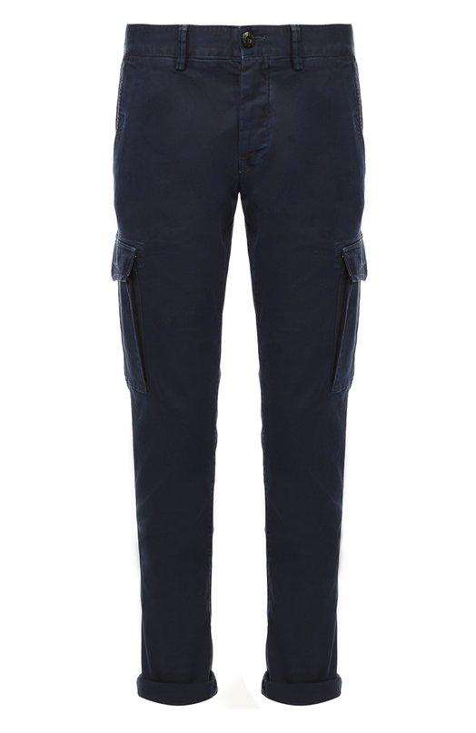 Хлопковые брюки карго Stone IslandБрюки<br>Темно-синие брюки карго сшиты из плотного хлопкового репса. Окрашивание и последующее обесцвечивание готового изделия придают ткани легкую потертость. Модель из осенне-зимней коллекции 2016 года дополнена шестью карманами: двумя боковыми, двумя задними и двумя на брючинах.<br><br>Российский размер RU: 48<br>Пол: Мужской<br>Возраст: Взрослый<br>Размер производителя vendor: 32<br>Материал: Хлопок: 97%; Эластан: 3%;<br>Цвет: Темно-синий