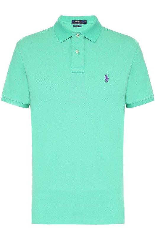 Хлопковое поло с короткими рукавами Polo Ralph LaurenПоло<br><br><br>Российский размер RU: 50<br>Пол: Мужской<br>Возраст: Взрослый<br>Размер производителя vendor: L<br>Материал: Хлопок: 100%;<br>Цвет: Зеленый