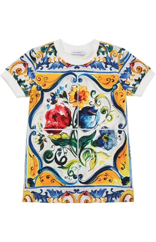 Футболка джерси с принтом Majolica Dolce & Gabbana 0131/L2JWD1/G7IJP