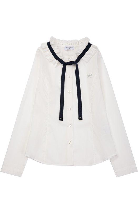 Блуза прямого кроя с контрастной отделкой MonnalisaБлузы<br><br><br>Размер Years: 14<br>Пол: Женский<br>Возраст: Детский<br>Размер производителя vendor: 158cm<br>Материал: Хлопок: 68%; Полиамид: 30%; Эластан: 2%;<br>Цвет: Белый