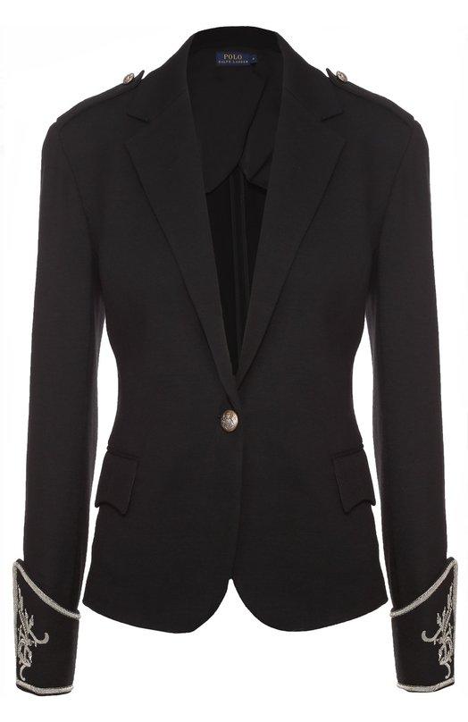 Приталенный жакет с контрастной вышивкой на рукавах Polo Ralph LaurenЖакеты<br><br><br>Российский размер RU: 50<br>Пол: Женский<br>Возраст: Взрослый<br>Размер производителя vendor: 12<br>Материал: Шерсть: 100%;<br>Цвет: Черный