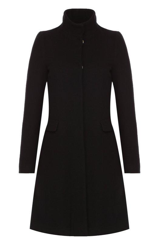 Шерстяное пальто на заклепках с высоким воротником Blugirl 02436