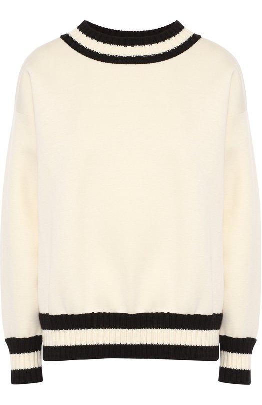 Пуловер прямого кроя с контрастной вязаной отделкой MonclerСвитеры<br><br><br>Российский размер RU: 48<br>Пол: Женский<br>Возраст: Взрослый<br>Размер производителя vendor: L<br>Материал: Модал: 100%;<br>Цвет: Белый