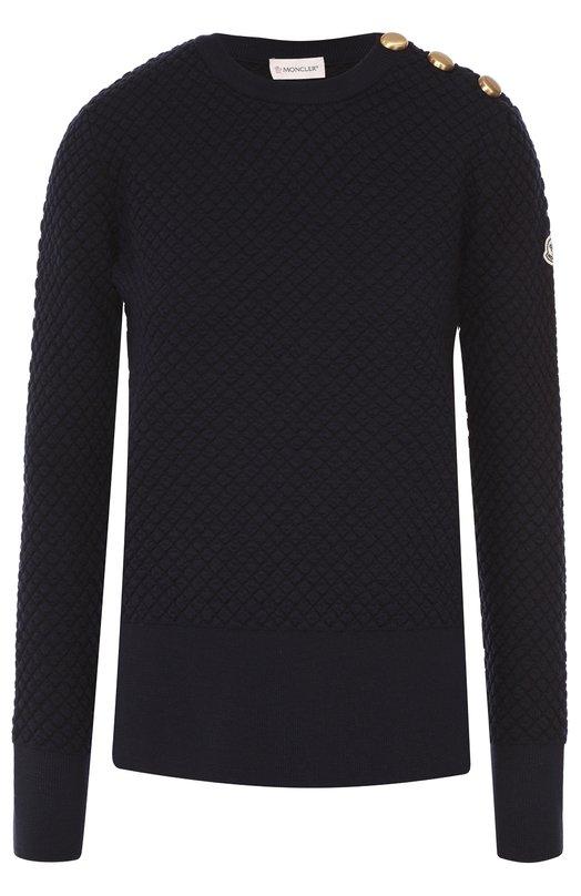Удлиненный пуловер с разрезами и декоративной отделкой Moncler B2-093-90633-00-99652