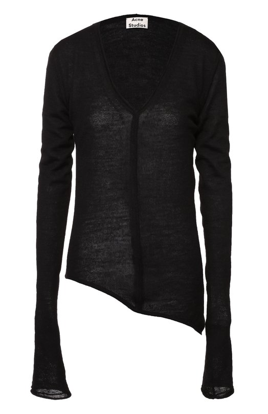 Пуловер асимметричного кроя с V-образным вырезом Acne StudiosСвитеры<br>Черный асимметричный свитер с удлиненными рукавами и V-образным вырезом вошел в осенне-зимнюю коллекцию 2016 года. Для производства модели Jaden мастера марки использовали мягкую шерсть альпаки. Нам нравится сочетать с водолазкой, леггинсами и кроссовками в тон.<br><br>Российский размер RU: 48<br>Пол: Женский<br>Возраст: Взрослый<br>Размер производителя vendor: L<br>Материал: Шерсть альпака: 90%; Шерсть: 10%;<br>Цвет: Черный