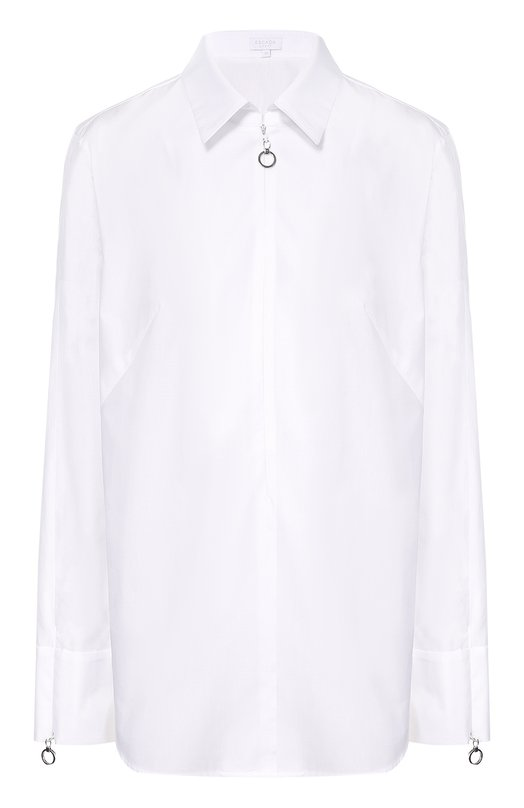 Блуза прямого кроя с декоративной отделкой Escada SportБлузы<br><br><br>Российский размер RU: 48<br>Пол: Женский<br>Возраст: Взрослый<br>Размер производителя vendor: 40<br>Материал: Хлопок: 100%;<br>Цвет: Белый