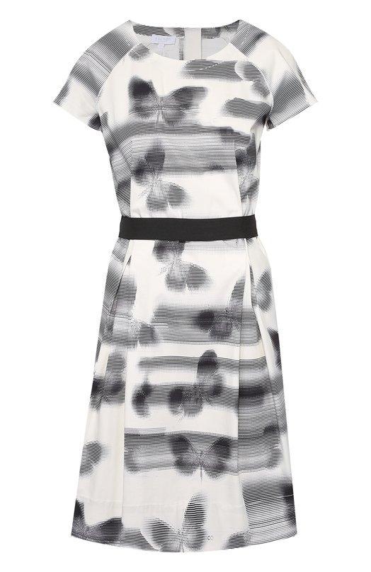 Приталенное платье с круглым вырезом и контрастным поясом Escada SportПлатья<br><br><br>Российский размер RU: 48<br>Пол: Женский<br>Возраст: Взрослый<br>Размер производителя vendor: 40<br>Материал: Хлопок: 97%; Эластан: 3%;<br>Цвет: Черно-белый