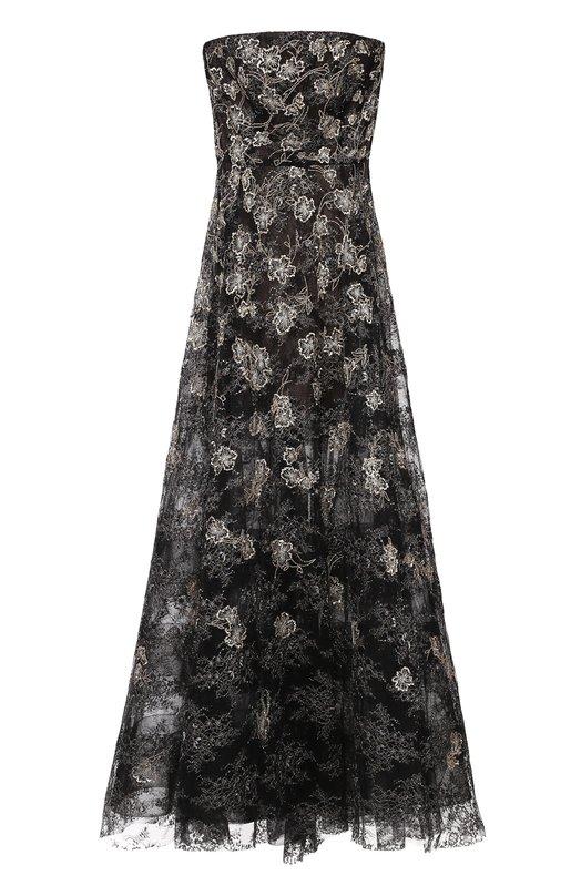 Приталенное платье-бюстье с декоративной вышивкой Oscar de la RentaПлатья<br><br><br>Российский размер RU: 46<br>Пол: Женский<br>Возраст: Взрослый<br>Размер производителя vendor: 8<br>Материал: Полиамид: 85%; Полиэстер: 15%; Подкладка-шелк: 100%;<br>Цвет: Черный