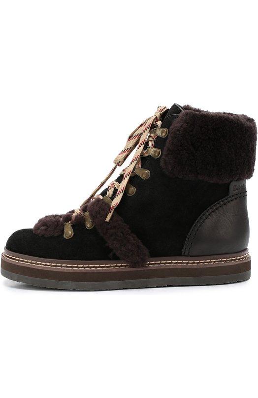 Замшевые ботинки с меховой отделкой See by Chloe SB27100/CR0STA CALF/VEGETAL CALF/CURLY SHEEP