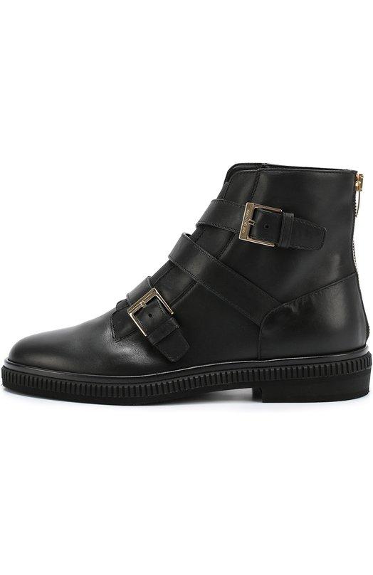 Кожаные ботинки с ремешками Sergio RossiБотинки<br>Ботинки на низком каблуке вошли в коллекцию сезона осень-зима 2016 года. Мастера марки, основанной Серджио Росси, сшили модель из гладкой матовой кожи. Задник дополнен функциональной молнией. Вместо шнуровки — эластичная текстильная вставка. Ширина обуви на подъеме регулируется ремешками с пряжками.<br><br>Российский размер RU: 38<br>Пол: Женский<br>Возраст: Взрослый<br>Размер производителя vendor: 38<br>Материал: Кожа натуральная: 100%; Стелька-кожа: 100%; Подошва-резина: 100%;<br>Цвет: Черный