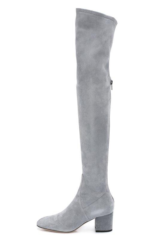 Замшевые ботфорты Stretch на устойчивом каблуке ValentinoСапоги<br>Серые ботфорты-чулки Stretch с круглым мысом, на низком устойчивом каблуке вошли в осенне-зимнюю коллекцию марки, основанной Валентино Гаравани. Для пошива сапог мастера марки использовали фактурную замшу двух видов: эластичную для облегающего голенища и плотную для союзки. Сзади – молния.<br><br>Российский размер RU: 38<br>Пол: Женский<br>Возраст: Взрослый<br>Размер производителя vendor: 38<br>Материал: Стелька-кожа: 100%; Подошва-кожа: 100%; Замша натуральная: 100%;<br>Цвет: Серый