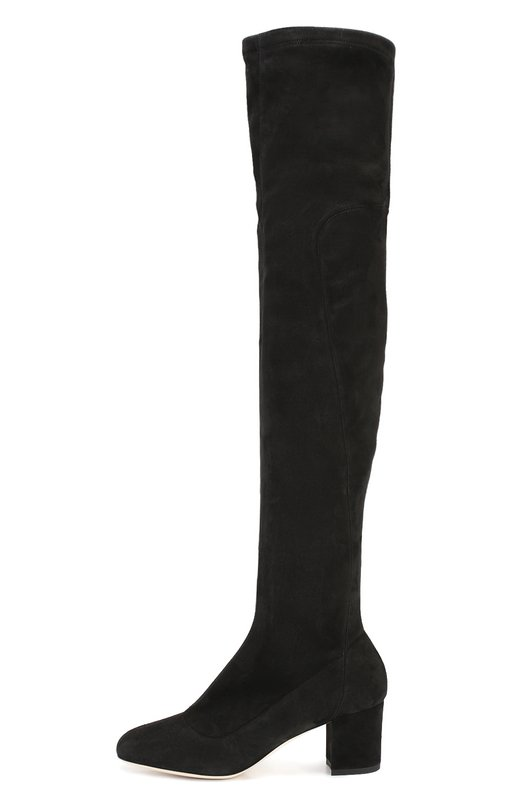 Замшевые ботфорты Jackie на устойчивом каблуке Dolce &amp; GabbanaСапоги<br>Черные ботфорты Jackie с квадратным мысом, на невысоком устойчивом каблуке вошли в осенне-зимнюю коллекцию 2016 года. Доменико Дольче и Стефано Габбана выбрали для пошива сапог эластичную мягкую замшу. Облегающее голенище застегивается на короткую молнию. Под коленкой — вырез с резинкой.<br><br>Российский размер RU: 40<br>Пол: Женский<br>Возраст: Взрослый<br>Размер производителя vendor: 40<br>Материал: Стелька-кожа: 100%; Подошва-кожа: 100%; Замша натуральная: 100%;<br>Цвет: Черный
