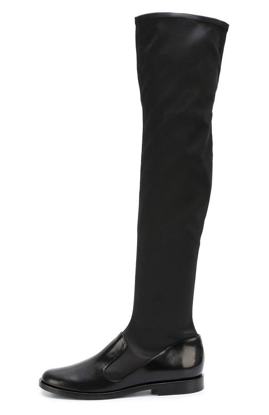 Комбинированные ботфорты на низком каблуке Giorgio Armani