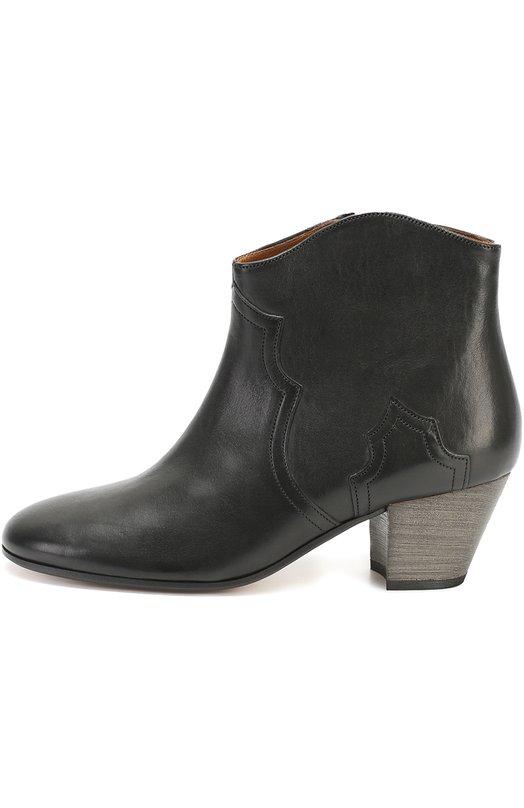 Купить Кожаные ботильоны на наборном каблуке Isabel Marant Etoile, 16A010S/DICKER, Португалия, Черный, Кожа натуральная: 100%; Стелька-кожа: 100%; Подошва-кожа: 100%;