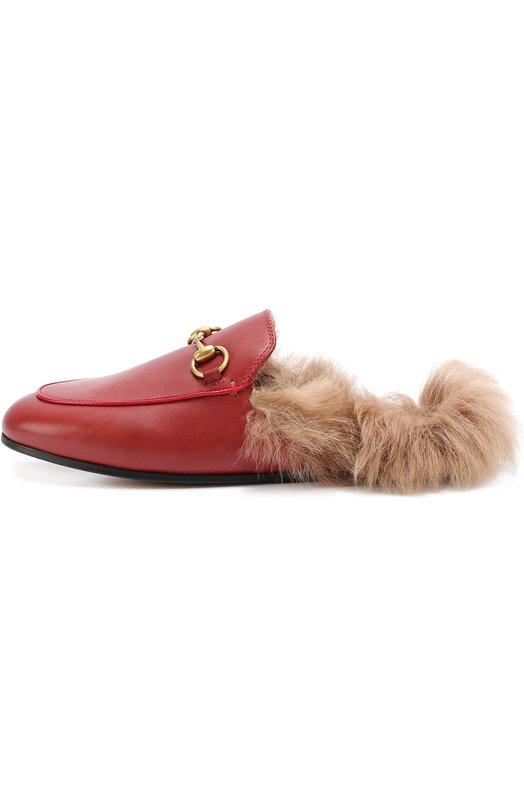 Кожаные сабо Princetown с пряжкой-трензелем GucciСабо<br><br><br>Российский размер RU: 37<br>Пол: Женский<br>Возраст: Взрослый<br>Размер производителя vendor: 37-5<br>Материал: Кожа натуральная: 100%; Подошва-кожа: 100%; Стелька-ягненок: 100%;<br>Цвет: Красный