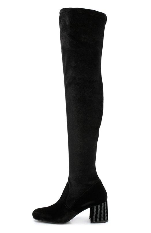 Замшевые ботфорты на массивном каблуке с декором Le SillaСапоги<br><br><br>Российский размер RU: 37<br>Пол: Женский<br>Возраст: Взрослый<br>Размер производителя vendor: 37-5<br>Материал: Стелька-кожа: 100%; Подошва-кожа: 100%; Подошва-резина: 100%; Текстиль: 100%;<br>Цвет: Черный