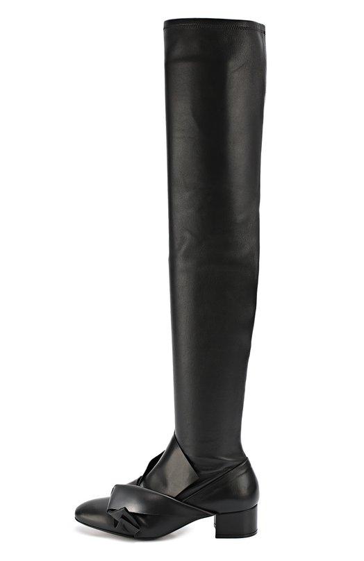 Кожаные ботфорты с бантом No. 21Сапоги<br>Алессандро Дель Аква украсил черные ботфорты из коллекции сезона осень-зима 2016 года объемным узлом, выполненным в технике оригами. Модель с зауженным мысом, на устойчивом каблуке средней высоты сшита из матовой зерненой кожи. Обувь застегивается на короткую боковую молнию.<br><br>Российский размер RU: 36<br>Пол: Женский<br>Возраст: Взрослый<br>Размер производителя vendor: 36-5<br>Материал: Кожа натуральная: 100%; Стелька-кожа: 100%; Подошва-кожа: 100%;<br>Цвет: Черный