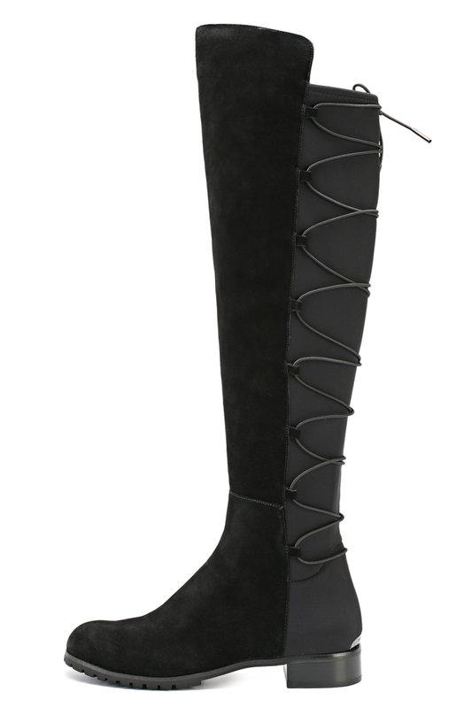 Комбинированные ботфорты на шнуровке Michael Michael KorsСапоги<br>Майкл Корс включил ботфорты на невысоком каблуке в коллекцию сезона осень-зима 2016 года. Мастера марки использовали для создания союзки и передней панели голенища прочную замшу. Задняя часть из плотного эластичного текстиля дополнена корсетной шнуровкой. Обувь застегивается на боковую молнию.<br><br>Российский размер RU: 41<br>Пол: Женский<br>Возраст: Взрослый<br>Размер производителя vendor: 11<br>Материал: Стелька-кожа: 100%; Подошва-резина: 100%; Замша натуральная: 100%; Текстиль: 100%;<br>Цвет: Черный