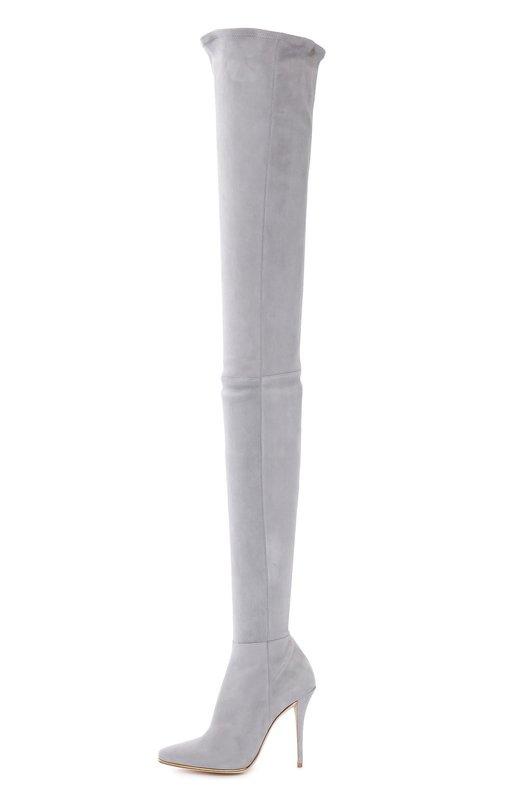 Замшевые ботфорты на шпильке BalmainСапоги<br>Ботфорты-чулки из коллекции сезона осень-зима 2016 года застегиваются на короткую молнию сбоку. Мастера марки, основанной Пьером Бальманом, использовали для создания модели на высокой шпильке мягкую эластичную замшу серого цвета. Тонкая подошва дополнена позолоченным рантом.<br><br>Российский размер RU: 39<br>Пол: Женский<br>Возраст: Взрослый<br>Размер производителя vendor: 39<br>Материал: Стелька-кожа: 100%; Подошва-кожа: 100%; Замша натуральная: 100%;<br>Цвет: Серый
