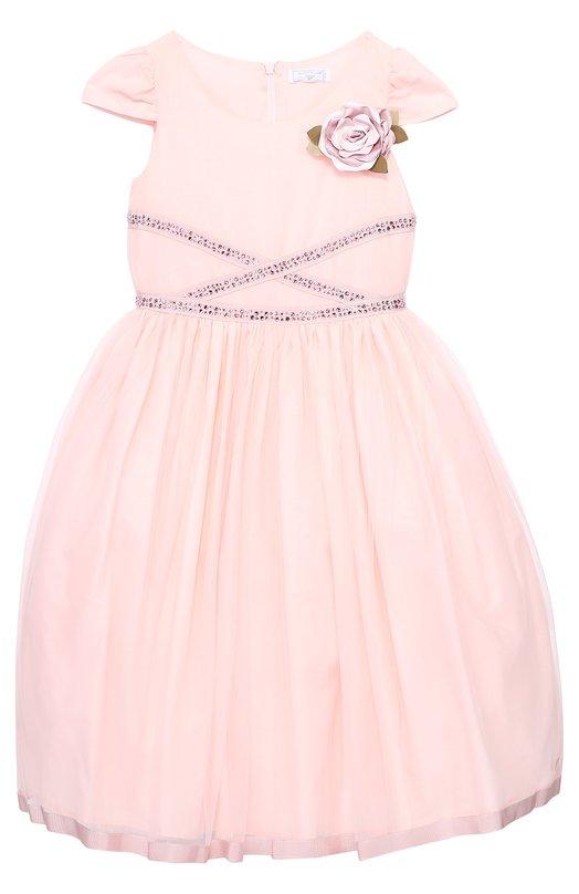 Приталенное платье с коротким рукавом и брошью MonnalisaПлатья<br><br><br>Размер Years: 2<br>Пол: Женский<br>Возраст: Детский<br>Размер производителя vendor: 92-98cm<br>Материал: Полиамид: 100%; Подкладка-хлопок: 100%;<br>Цвет: Розовый