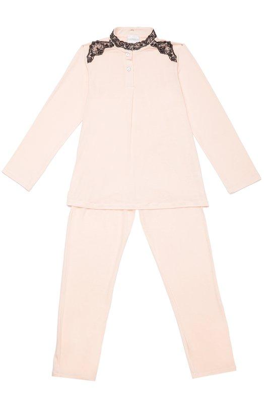 Пижама с контрастной кружевной отделкой La PerlaБельё<br><br><br>Размер Years: 5<br>Пол: Женский<br>Возраст: Детский<br>Размер производителя vendor: 110-116cm<br>Материал: Вискоза: 90%; Эластан: 10%;<br>Цвет: Розовый
