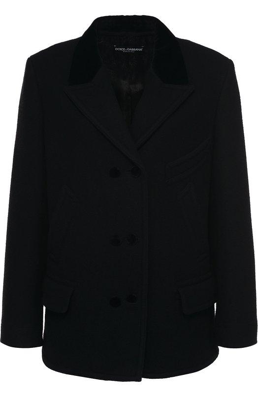 Шерстяное укороченное пальто с карманами Dolce &amp; GabbanaПальто и плащи<br><br><br>Российский размер RU: 44<br>Пол: Женский<br>Возраст: Взрослый<br>Размер производителя vendor: 42<br>Материал: Шерсть: 93%; Хлопок: 7%; Подкладка-вискоза: 58%; Подкладка-купра: 42%;<br>Цвет: Черный