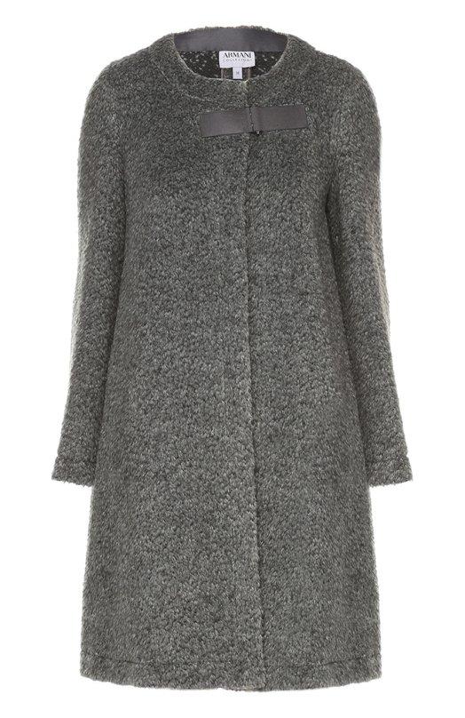 Шерстяное пальто прямого кроя с круглым вырезом Armani Collezioni UML19T/UM604