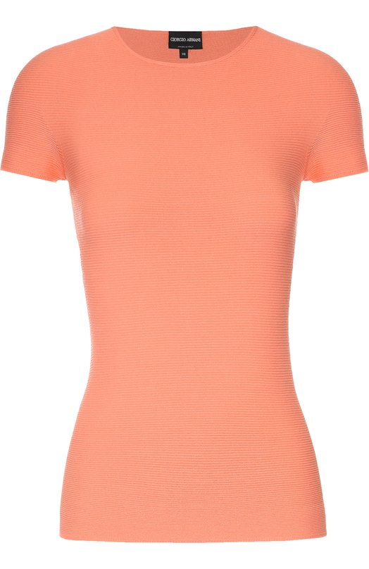 Облегающая футболка с круглым вырезом Giorgio ArmaniФутболки<br><br><br>Российский размер RU: 42<br>Пол: Женский<br>Возраст: Взрослый<br>Размер производителя vendor: 40<br>Материал: Вискоза: 67%; Полиэстер: 33%;<br>Цвет: Оранжевый