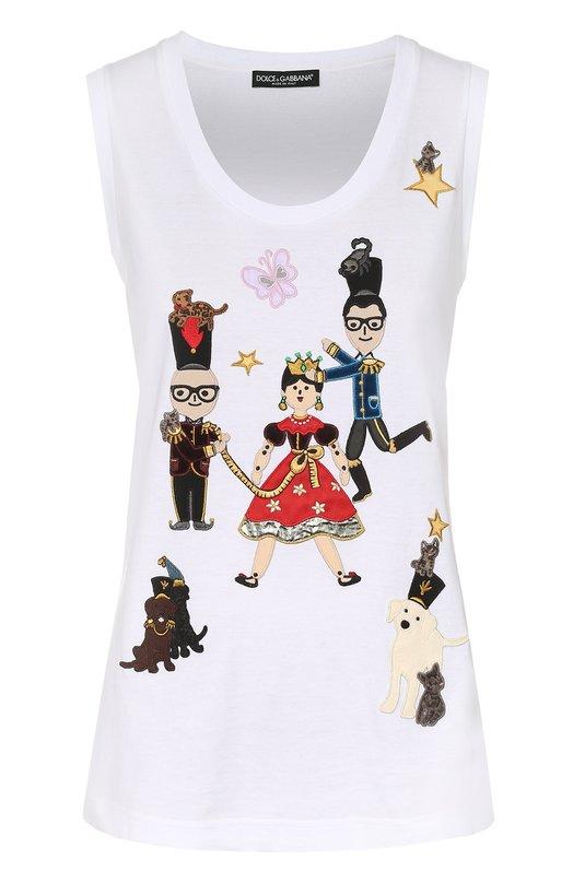 Топ прямого кроя с контрастными нашивками Dolce & Gabbana 0102/F8H35Z/G7IWL