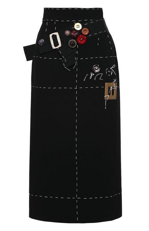 Юбка прямого кроя с контрастной прострочкой и декоративной отделкой Dolce & Gabbana 0102/F4AR0Z/FU2TZ
