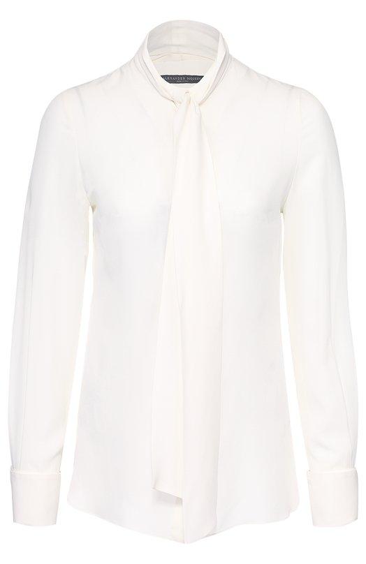 Шелковая блуза прямого кроя с воротником аскот Alexander McQueen 436190/QHB07