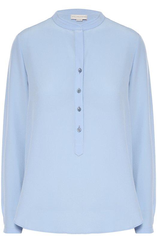 Прямая шелковая блуза с воротником-стойкой Stella McCartneyБлузы<br><br><br>Российский размер RU: 48<br>Пол: Женский<br>Возраст: Взрослый<br>Размер производителя vendor: 46<br>Материал: Шелк: 100%;<br>Цвет: Голубой
