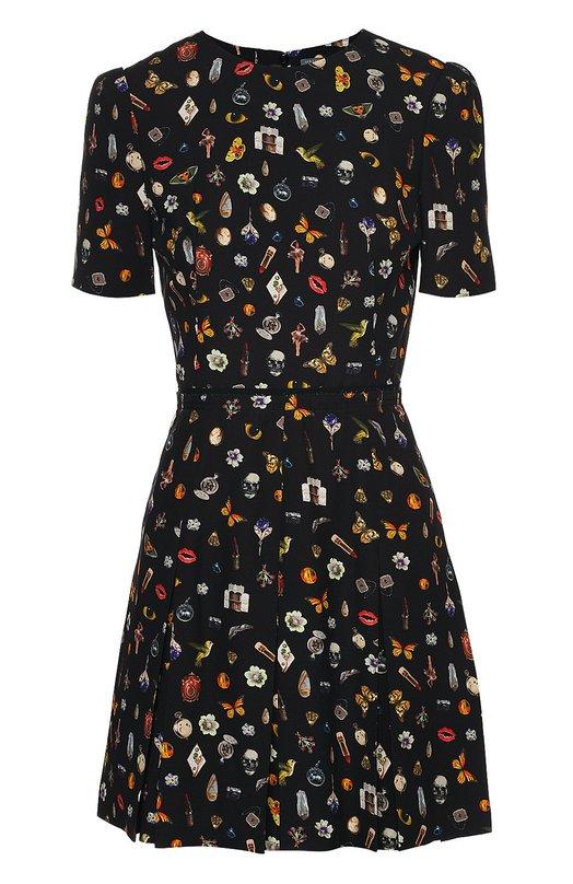 Приталенное мини-платье с ярким принтом Alexander McQueenПлатья<br><br><br>Российский размер RU: 42<br>Пол: Женский<br>Возраст: Взрослый<br>Размер производителя vendor: 40<br>Материал: Вискоза: 100%; Подкладка-шелк: 100%;<br>Цвет: Черный