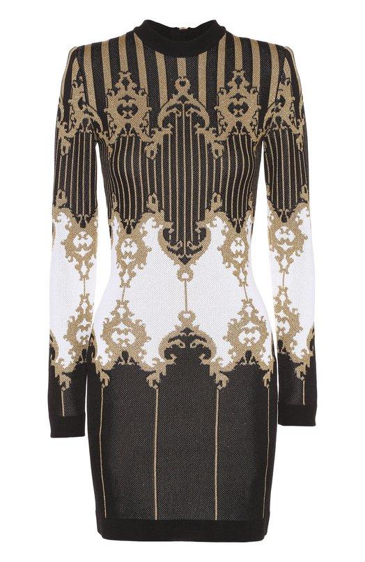 Облегающее платье с длинным рукавом и контрастным принтом Balmain 6277/628M