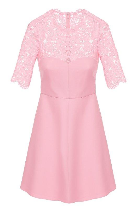 Купить Приталенное мини-платье с кружевным лифом и коротким рукавом Valentino, MB3VABG5/360, Италия, Розовый, Полиамид: 8%; Хлопок: 71%; Шерсть: 65%; Шелк: 35%; Вискоза: 21%; Подкладка-шелк: 100%;