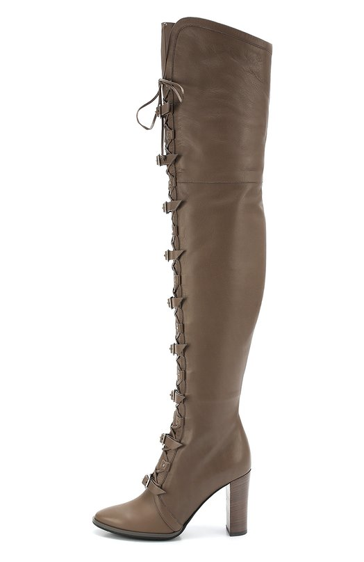 Кожаные ботфорты Maloy на высокой шнуровке с ремешками Jimmy ChooСапоги<br>Ботфорты Maloy на высоком каблуке сшиты из мягкой матовой кожи серого цвета. Племянница Джимми Чу Сандра Чой дополнила обувь корсетной шнуровкой и ремешками с металлическими пряжками. Модель, которая вошла в коллекцию сезона осень-зима 2016 года, застегивается на короткую боковую молнию.<br><br>Российский размер RU: 39<br>Пол: Женский<br>Возраст: Взрослый<br>Размер производителя vendor: 39<br>Материал: Кожа натуральная: 100%; Стелька-кожа: 100%; Подошва-резина: 100%;<br>Цвет: Серый