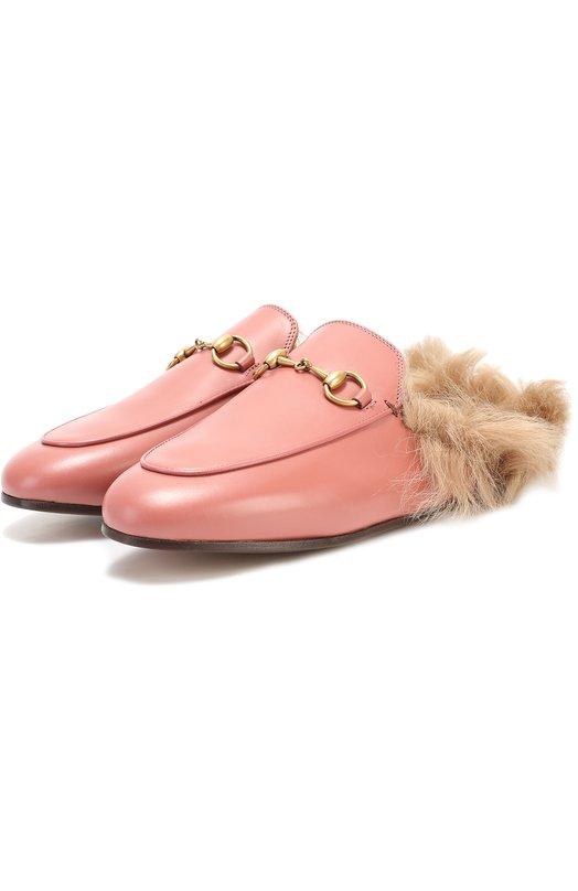 Купить Кожаные сабо Princetown с пряжкой-трензелем Gucci, 426361/DKHH0, Италия, Розовый, Кожа натуральная: 100%; Подошва-кожа: 100%; Стелька-ягненок: 100%;