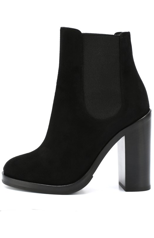 Замшевые ботильоны Lawrence на массивном каблуке Dolce &amp; GabbanaБотильоны<br>Доменико Дольче и Стефано Габбана включили ботильоны Lawrence с эластичными боковыми вставками, как у челси, в осенне-зимнюю коллекцию 2016 года. Обувь на высоком устойчивом каблуке сшита из прочной замши черного цвета.<br><br>Российский размер RU: 36<br>Пол: Женский<br>Возраст: Взрослый<br>Размер производителя vendor: 36-5<br>Материал: Стелька-кожа: 100%; Подошва-резина: 100%; Замша натуральная: 100%;<br>Цвет: Черный