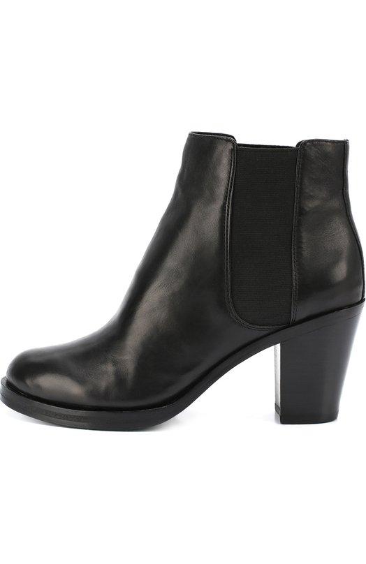 Кожаные полусапоги на устойчивом каблуке DKNYПолусапоги<br>Черные ботильоны с круглым мысом, на широкой платформе и высоком устойчивом каблуке сшиты из гладкой матовой кожи. Модель из осенне-зимней коллекции 2016 года дополнена эластичными текстильными вставками, как у челси. Поэтому обувь без застежки удобно надевать и снимать.<br><br>Российский размер RU: 37<br>Пол: Женский<br>Возраст: Взрослый<br>Размер производителя vendor: 7-5<br>Материал: Кожа натуральная: 100%; Стелька-кожа: 100%; Подошва-кожа: 100%;<br>Цвет: Черный